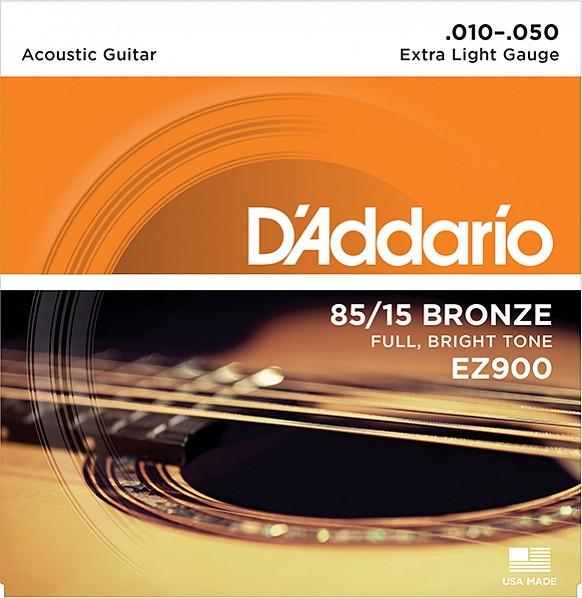 Струны для акустической гитары Extra Light 10-50 D`Addario EZ900 AMERICAN BRONZE 85/15