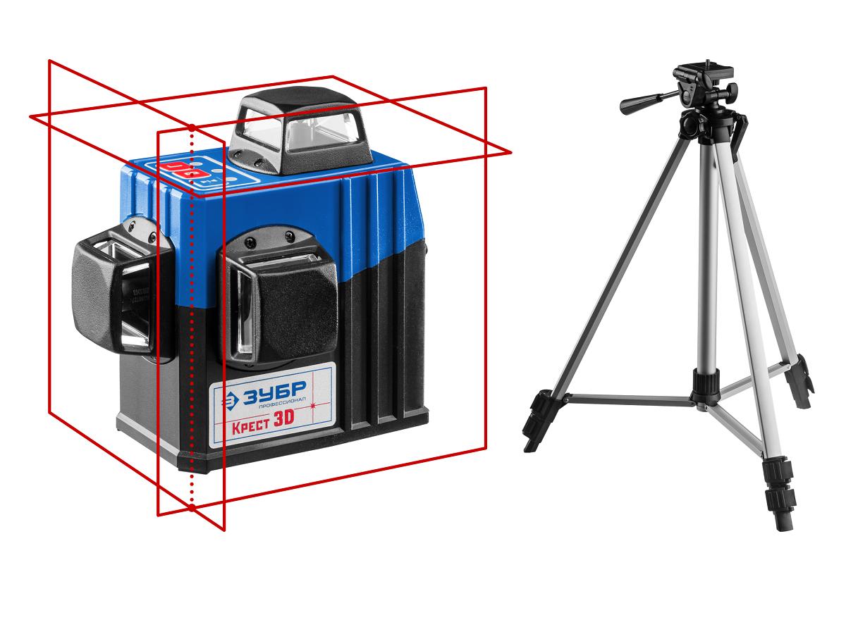 (34908-2) ЗУБР КРЕСТ 3D №2 нивелир лазерный 3х360°, 20м/70м, точн. +/-0,3 мм/м, штатив