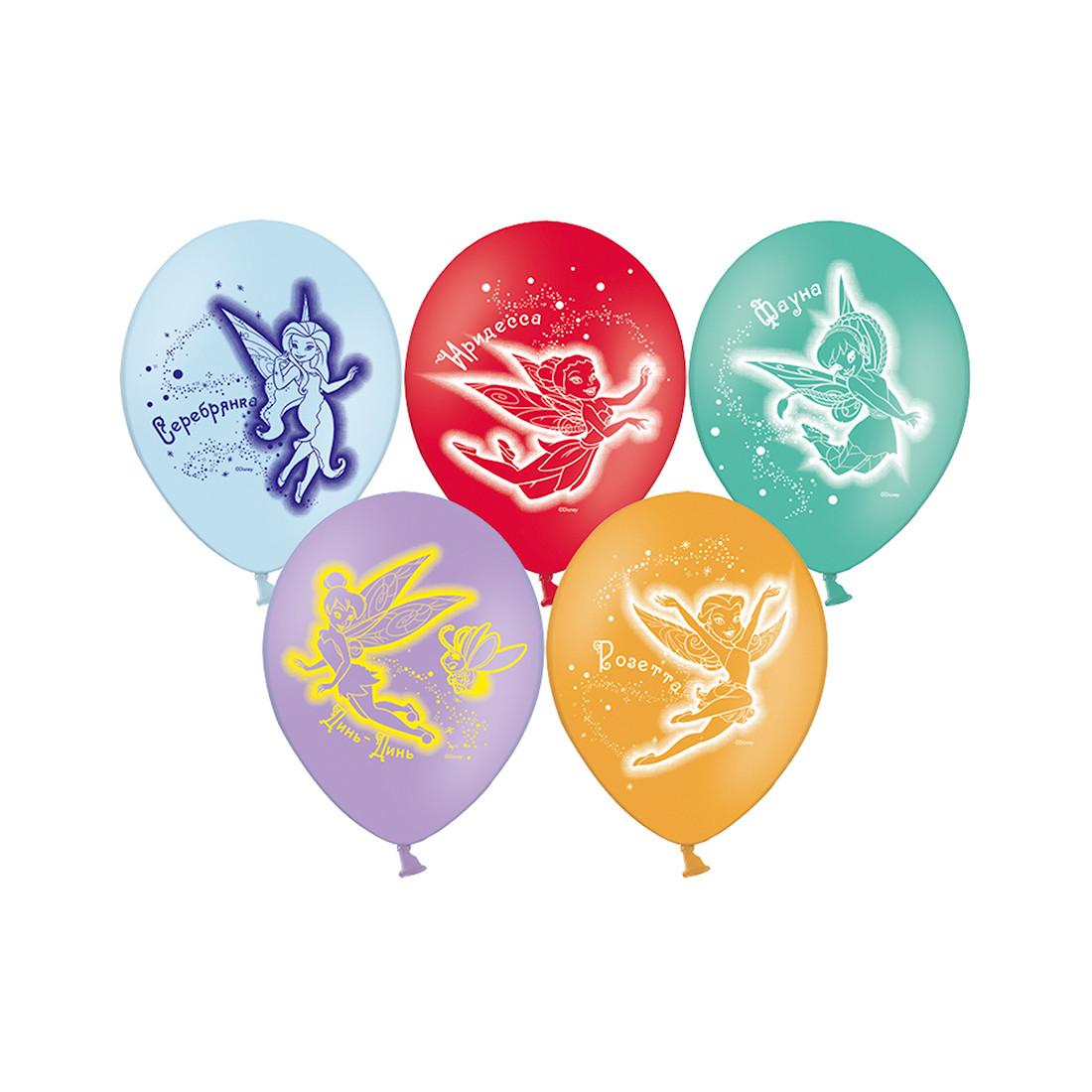 Воздушные шарики феи Disney (5 шт. в пакете), размер 30 см, латекс - фото 1