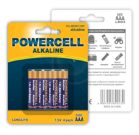 (LR03-4BPC) Батарейка щелочная, 1.5 В, тип АAА, 4 шт.