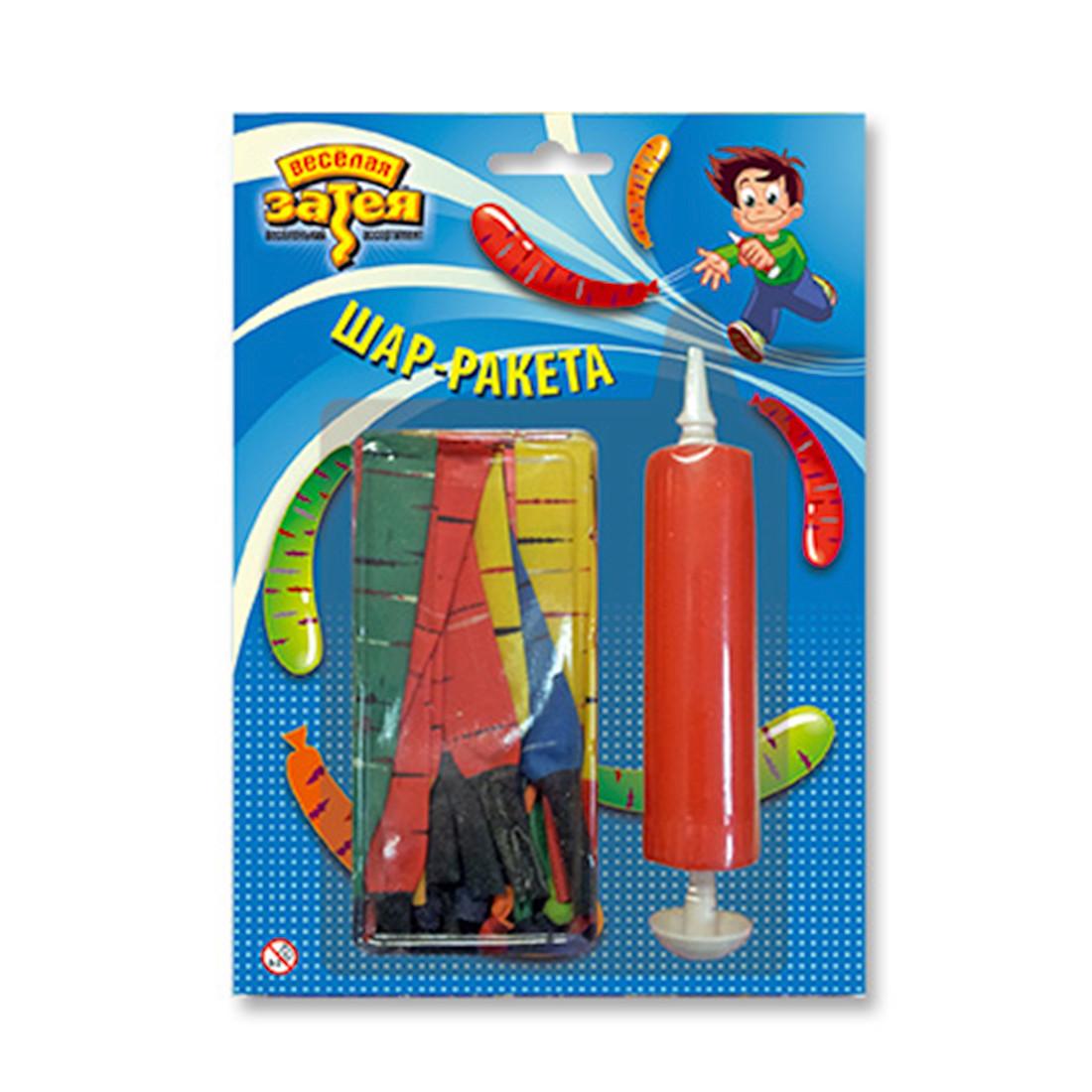 Воздушные шарики, ВЕСЁЛАЯ ЗАТЕЯ, 1111-0352, Шар-ракета, (24 шт. в пакете), насос в комплекте, латекс - фото 2