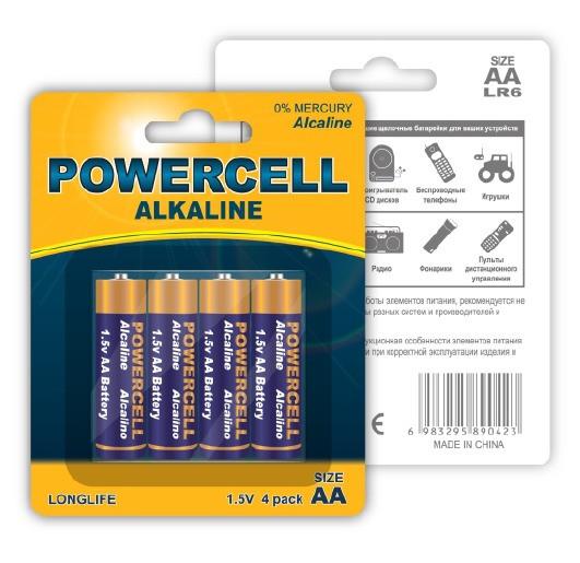 (LR6-4BPC) Батарейка щелочная, 1.5 В, тип АА, 4 шт.