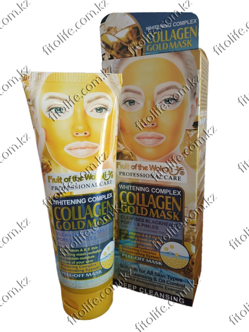 Золотая пилинг маска для лица, коллаген - фото 1