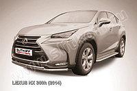 Защита переднего бампера d57+d42 двойная радиусная Lexus NX 300h 2014-18