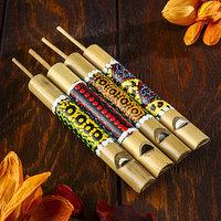 Свисток из бамбука с узором, МИКС (комплект из 5 шт.)