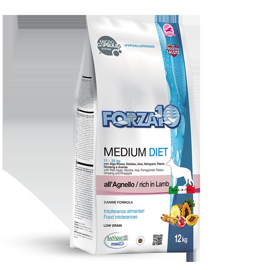 Гипоаллергенный корм Forza10 для взрослых собак, с чувствительным пищеварением (Ягненок) - 12 кг