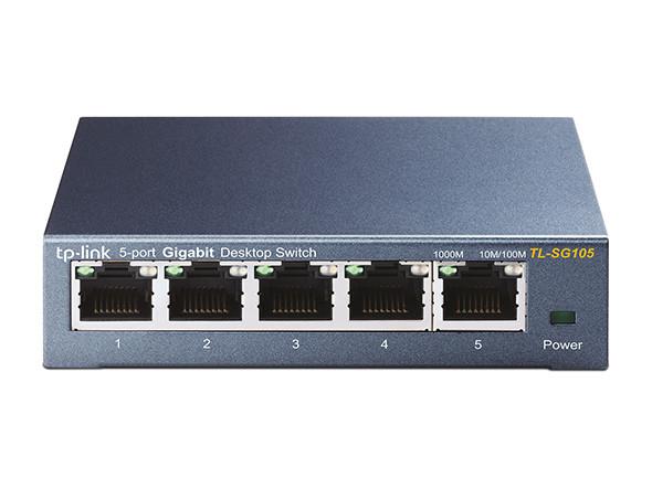 TP-LINK TL-SG105 Коммутатор Настольный, 5 портов 10/100/1000 Мбит/с, Неуправляемый, Корпус металл