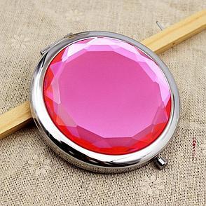 Карманное зеркальце двойное с увеличением, цвет малиновый, фото 2