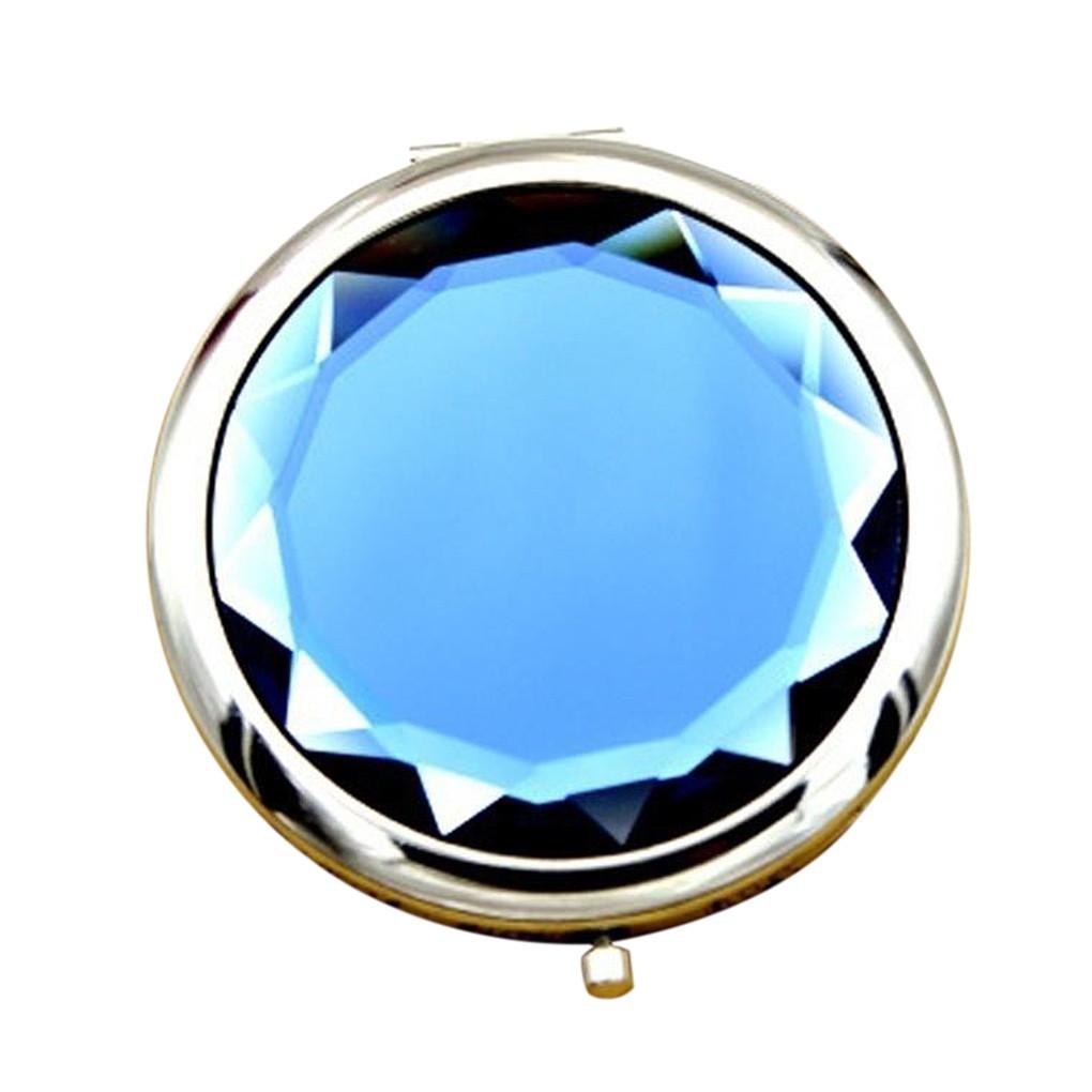 Карманное зеркальце двойное с увеличением, цвет синий