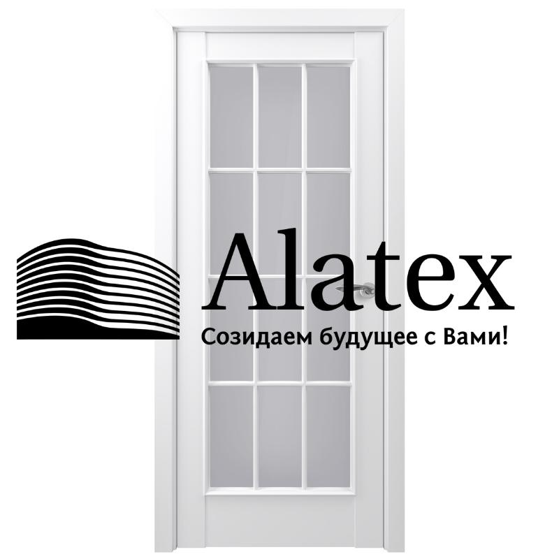 Дверь Неаполь  Белый матовый Стекло: Сатинато ПО (полотно остеклённое)
