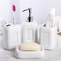 """Набор аксессуаров для ванной комнаты, 4 предмета """"Матовый"""", цвет белый"""