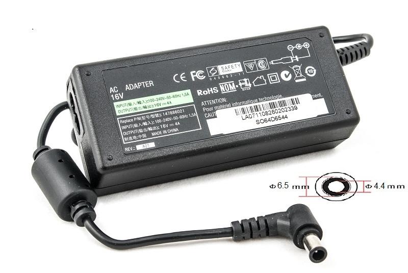 Зарядка (сетевой адаптер) PowerPlant для ноутбука SONY 220V, 16V 64W 4A (6.5*4.4)