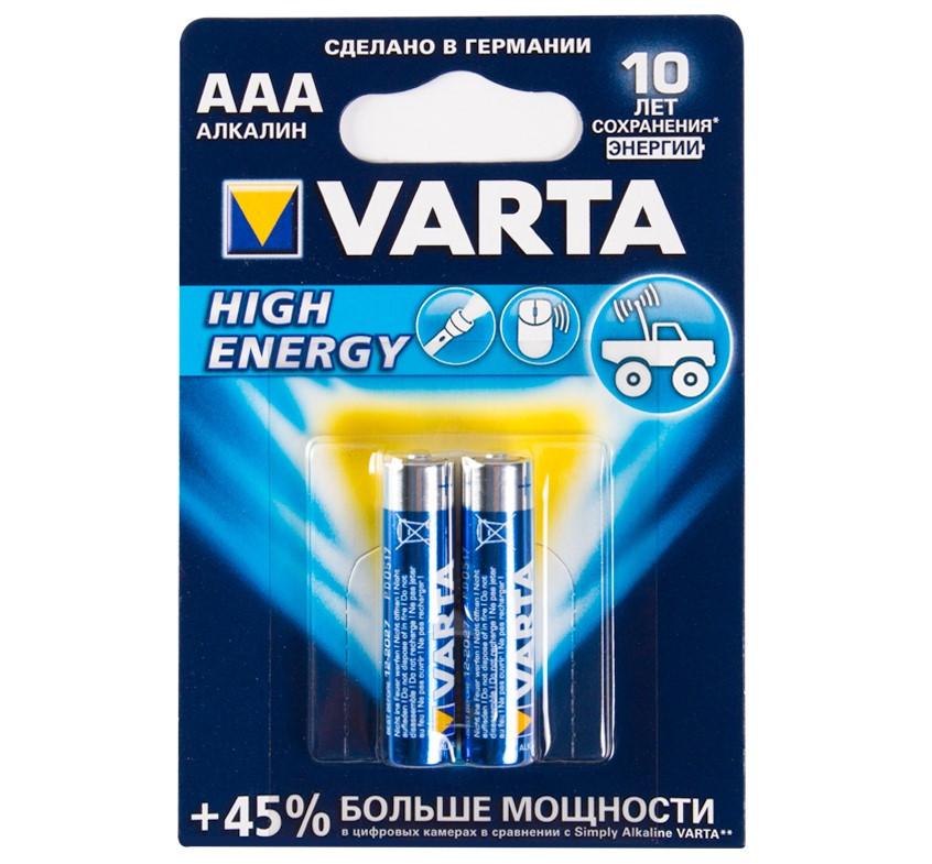 Батарейка VARTA LR03 High Energy, (Longlife Power Mircro), AAA, 1.5 V (2 шт.)