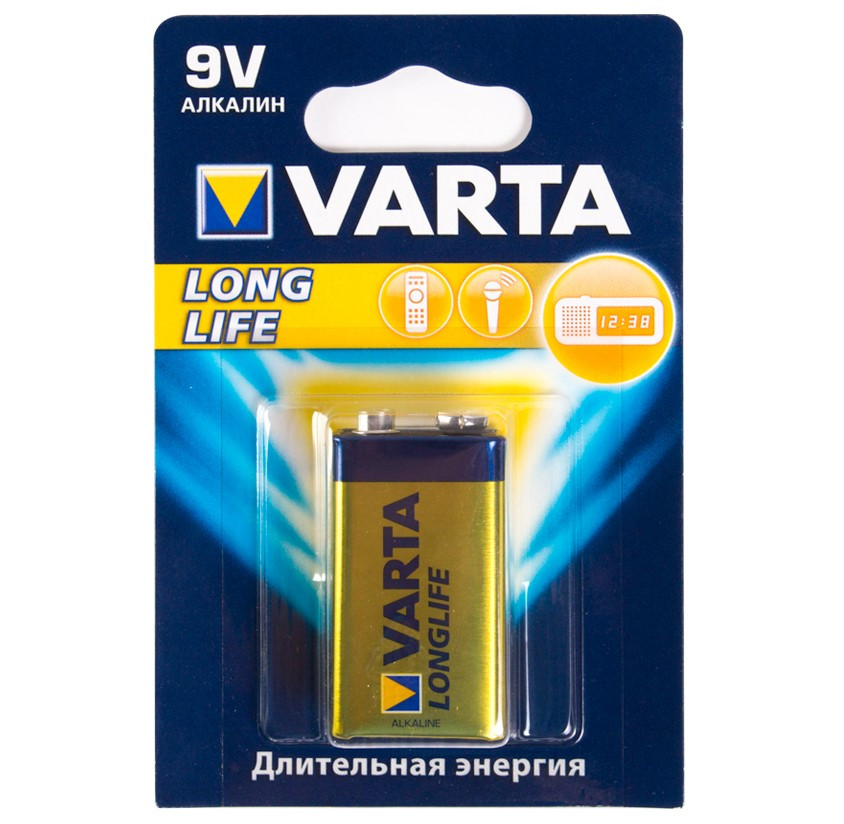 Батарейка VARTA 6LR61-BP1 E-Block, Longlife, 9V (1 шт.)
