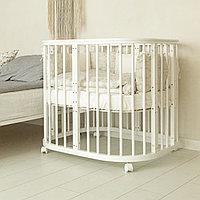 Круглая кроватка-трансформер Incanto Эмили 12 в 1 белый с маятником, фото 1