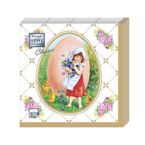 """Салфетки 33х33см, 3 сл., """"Пасхальная открытка.Золотая Пасха. Девочка"""", Бумага, 20 шт, фото 2"""