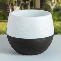 Горшок для цветов 'Япония' 1,2 л, цвет белый-темно-коричневый