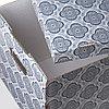 СМЕКА Коробка с крышкой, серый, цветок, 33x38x30 см