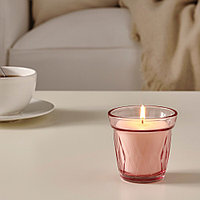 ВЭЛЬДОФТ Ароматическая свеча в стакане, лесная земляника, темно-розовый, 8 см