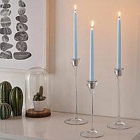 КЛОКХЕТ Неароматическая свеча, голубой, 25 см, фото 1