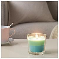 ФОРТГО Ароматическая свеча в стакане, Лайм и мята, зеленый синий, 9 см