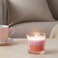 ФОРТГО Ароматическая свеча в стакане, Абрикос и мороженое, светло-розовый оранжевый, 9 см