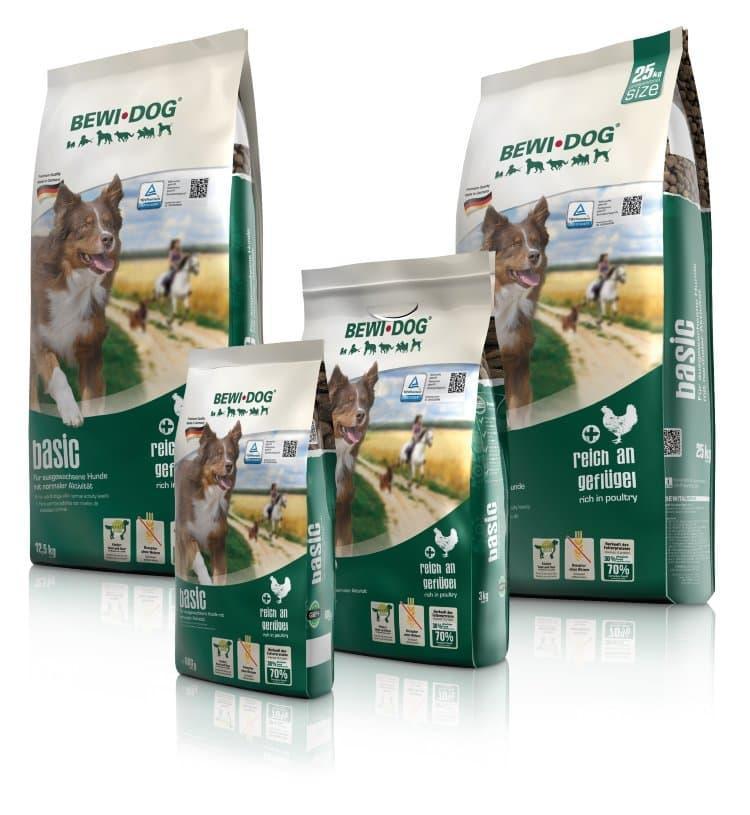 Корм Bewi Dog Basic croc для взрослых собак со средним уровнем активности (Птица) - 25 кг