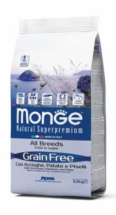 Беззерновой корм Monge GF All Breeds для взрослых собак (Анчоус) - 12 кг