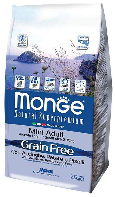 Беззерновой корм Monge Grain Free Mini Adult для взрослых собак мелких пород (Анчоусы) - 2.5 кг