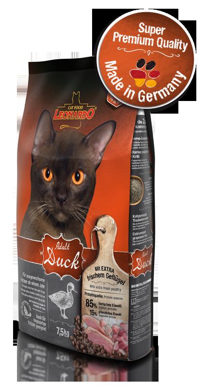 Корм Leonardo Sensitive Adult для чувствительных кошек, склонных к аллергии (Утка, рис) - 7.5 кг