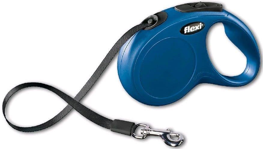 Ленточный поводок - рулетка Flexi New Classik Compact для животных до 50 кг (Синий) - 5 м