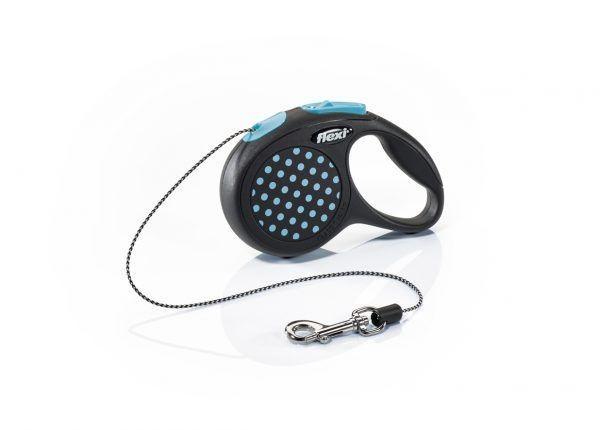 Tросовый поводок - рулетка Flexi Design для животных до 20 кг (Синий) - 5 м