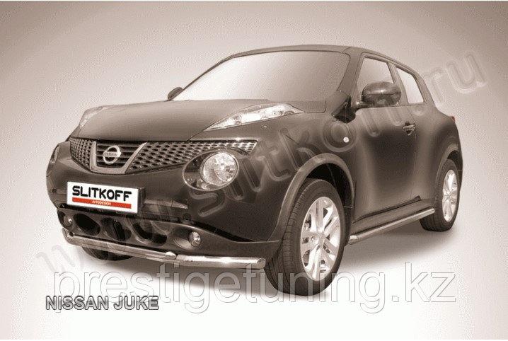 Защита переднего бампера d57+d42 двойная Nissan Juke