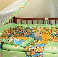 Комплект в кроватку 6 предметов Патрино 1001 зеленый, фото 1
