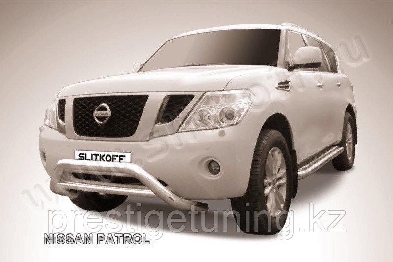 Защита переднего бампера d76+d76 двойная с профильной защитой картера Nissan Patrol Y62 2010-19