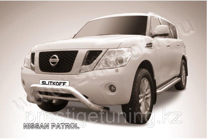 Защита переднего бампера d76 с профильной защитой картера Nissan Patrol Y62 2010-19