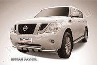 Защита переднего бампера d57+d57 двойная с ЗК Nissan Patrol Y62 2010-19