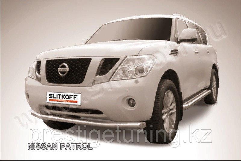Кенгурятник d76 низкий широкий с ЗК Nissan Patrol Nissan Patrol Y62 2010-19
