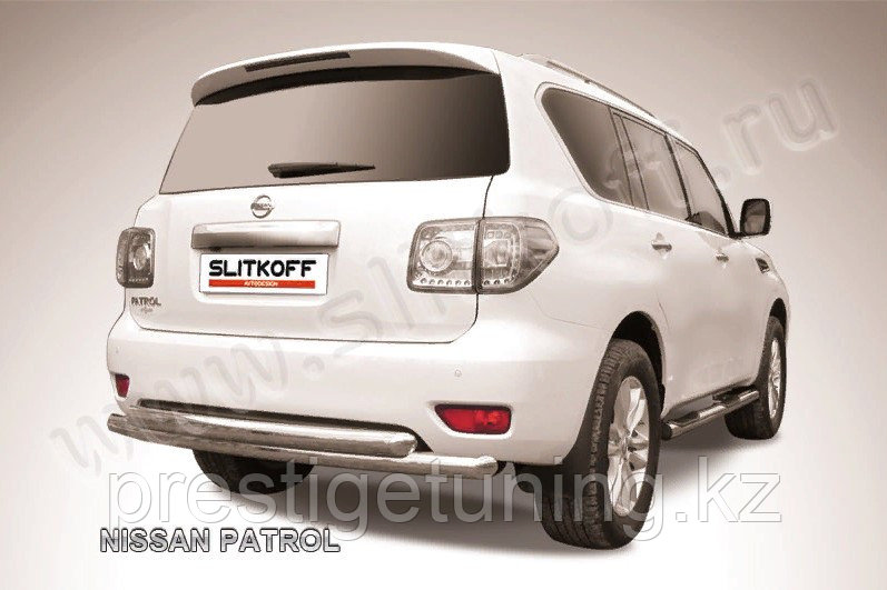 Защита заднего бампера d 76+d76 двойная Nissan Patrol Y62 2010-19