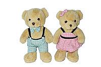 Мишка коричневый 27см мальчик (розовая рубашка) девочка (платье розовое)