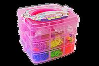 E2001-08C(087612)    Резинки-браслеты чемодан 3 ячейки станок игрушка для творчества чемодан сломан