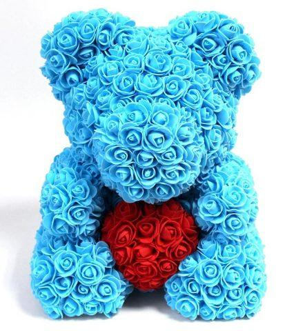 Мишка декоративный из роз с ленточкой в подарочной коробке [38 см] (Голубой) - фото 1