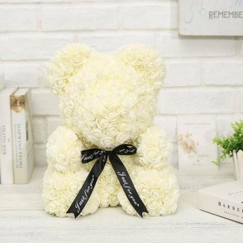 Мишка декоративный из роз с ленточкой в подарочной коробке [38 см] (Кремовый) - фото 1