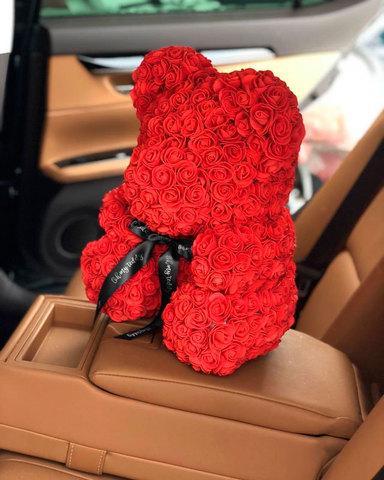 Мишка декоративный из роз с ленточкой в подарочной коробке [38 см] (Кремовый) - фото 6