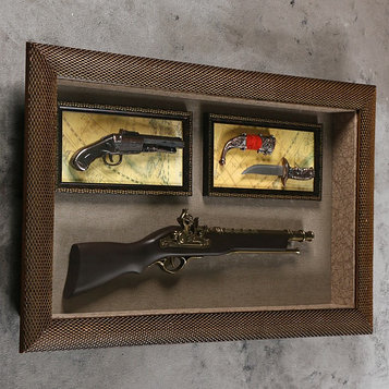 Изделие сувенирное в раме: ружье, мушкет, нож 80*48см
