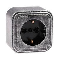 Розетка 'Элект' RA 16-133-ЧС, 16 А, 250 В, одноместная, открытая, с з/к, черная под серебро