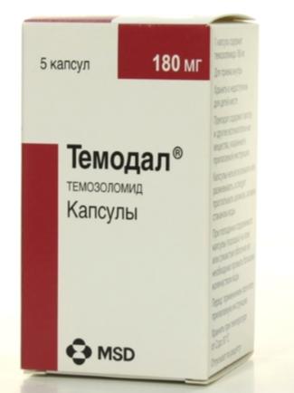 Темодал (Темозоломид) 100 мг, 140 мг, 180 мг, 250 мг/5 кап США Temodal