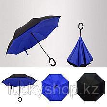 Умный зонт Наоборот, цвет синий + черный, фото 2