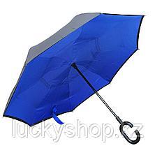 Умный зонт Наоборот, цвет синий + черный, фото 3