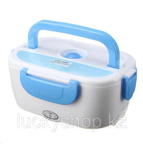 Автомобильный ланч-бокс с подогревом, цвет белый + голубой